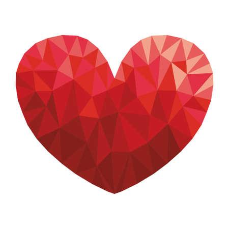 Polygon red heart in diamond style vector illustration design