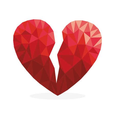 Broken polygonal red heart in diamond style icon vector illustration design