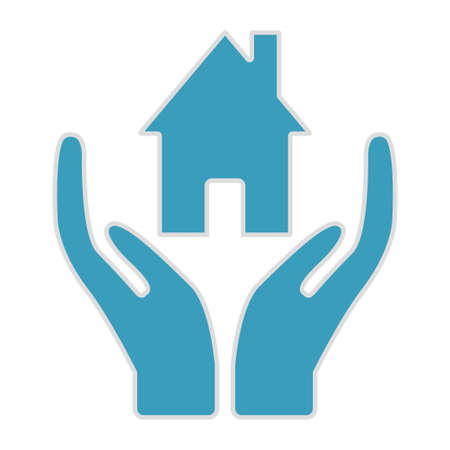 Hands hold the house. Insurance home icon illustration vector design