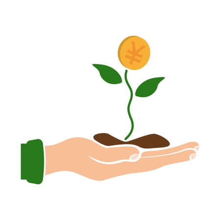 Hand holding plant with money vector illustration design