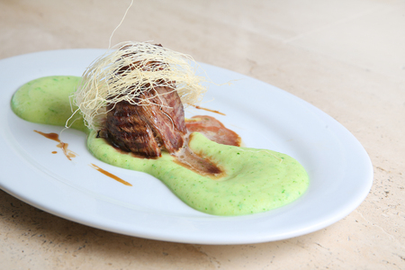 Fried meat with mashed potato puree