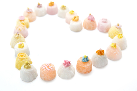 Sweet sugar cupcakes. Heart figure