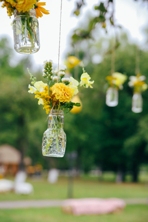 Original Wedding Floral Decoration In The Form Of Mini Vases Stock