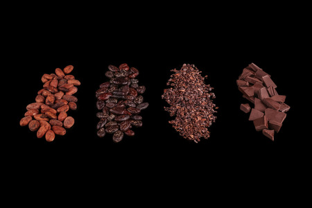Peeled, chopped cocoa beans