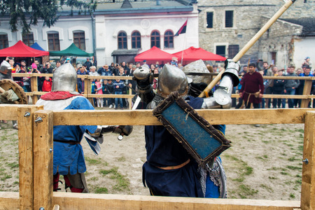 halberd: KAMYANETS PODILSKY, UKRAINE - May 9, 2016 : jousting battles festival of medieval culture of Outpost 2016 in Kamenetz-Podolsk on May 9, 2016, Kamyanets Podilsky, Ukraine
