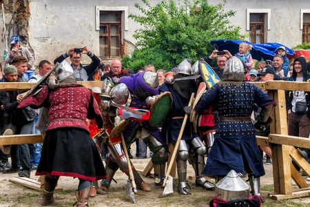 outpost: KAMYANETS PODILSKY, UKRAINE - May 9, 2016 : jousting battles festival of medieval culture of Outpost 2016 in Kamenetz-Podolsk on May 9, 2016, Kamyanets Podilsky, Ukraine