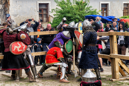 hauberk: KAMYANETS PODILSKY, UKRAINE - May 9, 2016 : jousting battles festival of medieval culture of Outpost 2016 in Kamenetz-Podolsk on May 9, 2016, Kamyanets Podilsky, Ukraine