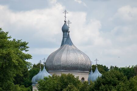 Church dome On the background of the sky. copy space