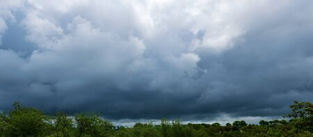 Panorama landscape of the sky covered with beautiful clouds.