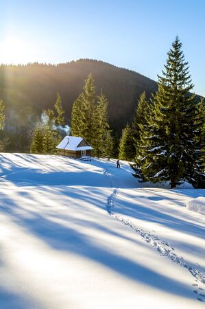 Snow trail that leads to a wooden cottage in the mountains. The spruce trees are covered with morning rays. Smoke coming out of the fireplace of the house. Winter in Ukrainian Carpathian Mountains.