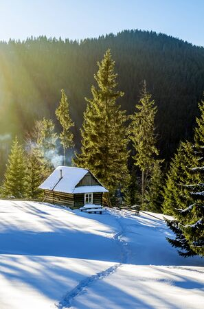 Wooden cottage on a snowy lawn in the mountains. The fir trees are covered with morning rays. Smoke coming out of the fireplace of the house. Winter in Ukrainian Carpathian Mountains.