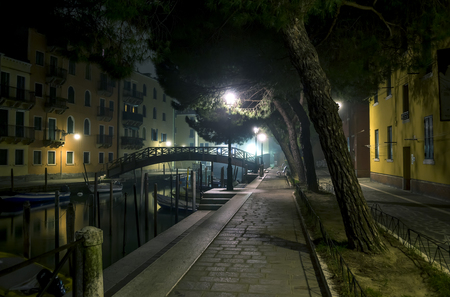Nice quiet street at night. Private boats are parked along the canal. The bridge silhouette is visible at the end of the waterway. Street lights illuminate the street Venice