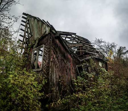 View of the past. The destroyed wooden country house in Ukraine. Brushwood Zdjęcie Seryjne