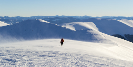 Lonely tourist walking on snowy mountain range. Against the background of a mountain range. Strong cold wind blow up snow. Clear sky, sunny. Winter. Ukraine