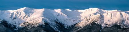 Winter morning panoramic view of snowy mountain ridge. Morning sunlight. Soft light. Clear blue sky. Ukrainian Carpathians