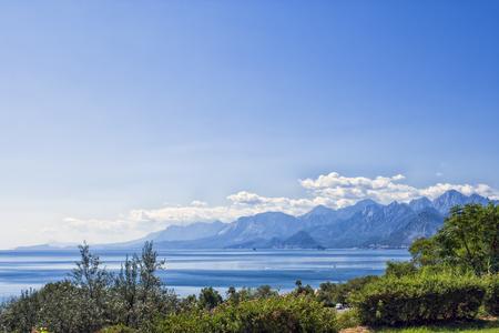 Panoramic view on Antalya mountains and Mediterranean Sea from the Beach park. Antalya, Turkey. Stock Photo