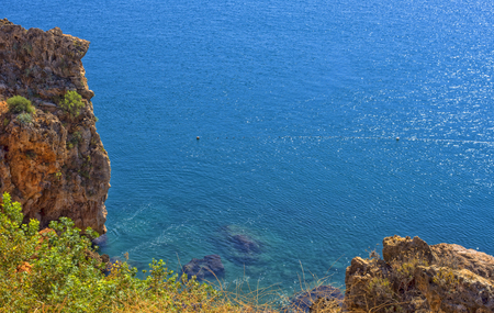 Panoramic view on Mediterranean Sea from a cliff. Antalya, Turkey.