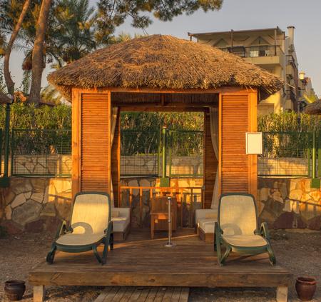 Personal lodge on the beach for sunbathe. Kemer, Turkey. 写真素材