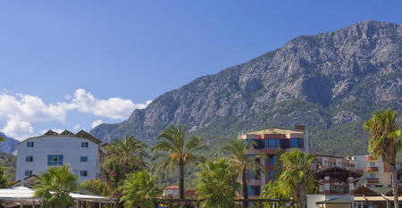 Residential houses near the mountains in Kemer town, Turkey.