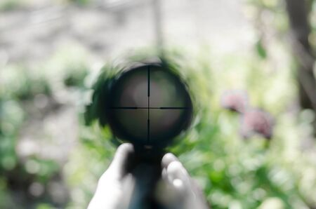Rifle scope view. View into the optical sight of a rifle. 写真素材