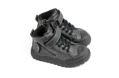 Children's shoes. Black demi-season children's shoes for a boy Stock fotó