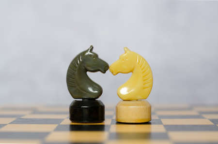 The black and white knights stand on the chessboard facing each other. Chess pieces, side view
