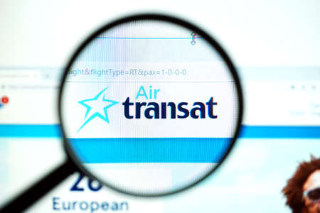 Los Angeles, California, USA - May 19 2020 : Official website of Air Transat . Homepage of firm