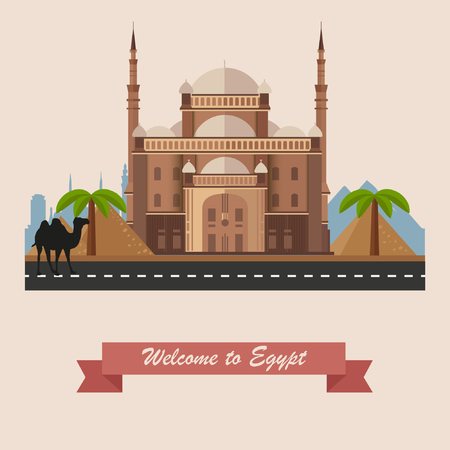 cairo: Welcome to Egypt. Cairo Citadel in Egypt. Historic sight showplace attraction. Flat illustration with Cairo Citadel, Egyptian pyramids, camel, palm trees, city skyline. Illustration