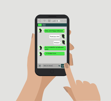 Hands holding smart phone. Social network concept. Vector. Messenger window. Chating and messaging concept. Vectores