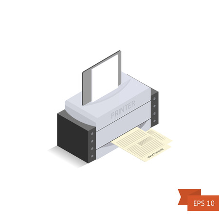 printed machine: Printer isometric on white background. Vector. Isometric office printed machine with paper sheet and documents. Isolated on white. Easy to edit illustration. Flat simple style