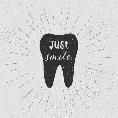 vintage: Tooth. Just smile. Vector. Black tooth on white background. Vintage retro sunburst, grunge background.