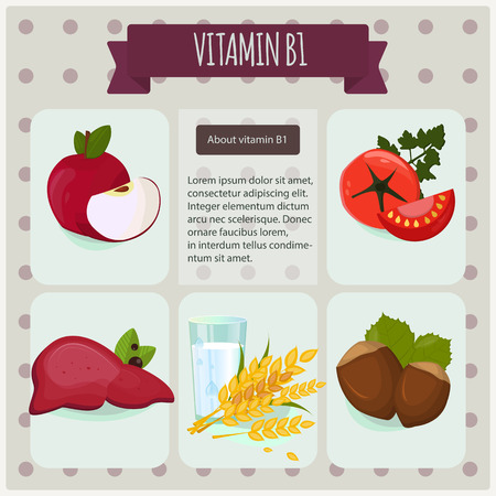 Vitamin B1 on black background. Vector illustration eps 10. Fruit and vegetables with vitamin B1 info graphics set: apple, tomato, liver, salmon, milk, cereals, nuts.