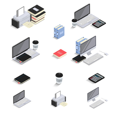 computerized: Flat 3d Isometric icons - laptop, computer, calculator, notebook, coffee, office folder. Office Equipments and Interior Items. Vector. Electronic gadgets and devices. Workspace infographic.