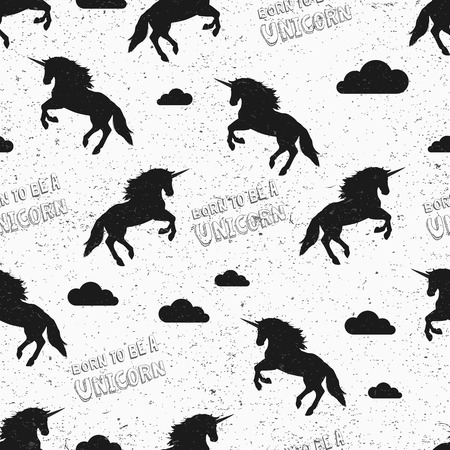 Unicorn wallpaper. Seamless pattern in swatch. Vector illustration. Born to be a unicorn. Repeating background. Jumping unicorns and clouds. Grunge vintage texture. Fabric textile print.