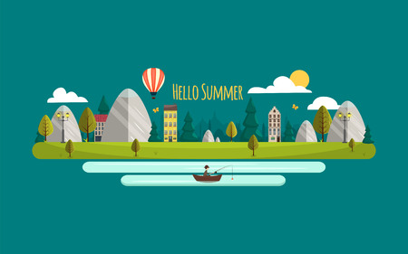 Summer landscape. Vector illustration. Hello summer. Flat style nature with mountains and houses. Airballon, river and fisherman. Ecolife. Green summer nature landscape. Illustration