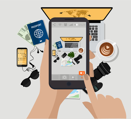 Hand holding mobile phone and make photo. Vector illustration. Computer, photo camera, coffee cup, sunglasses,passport,e book, map.Top view. Travel accessories and sings on table ready to be packed . Stock Illustratie