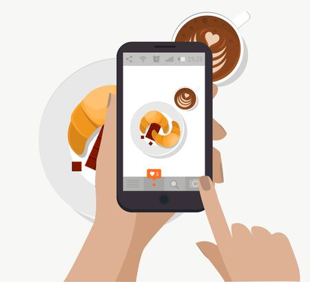 Hand holding smartphone, touching screen and taking food photography for social network. Vector. Making breakfast photo. Croissant, coffee cup and chocolate.