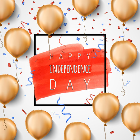Happy independence day USA. Gold foil balloons and confetti. Vector. Celebration background for 4th of July. Trendy black frame and brush stroke. Greeting card design.