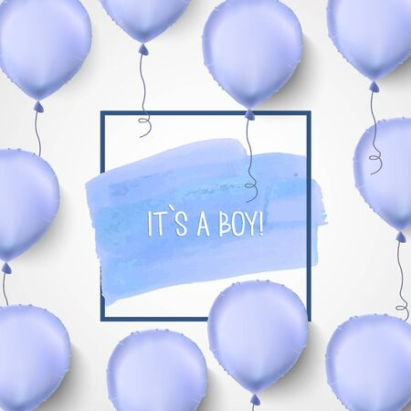 it s a boy: It s a boy. Blue balloons. Vector illustration.Baby born. Blue celebrating background for greeting card. Illustration
