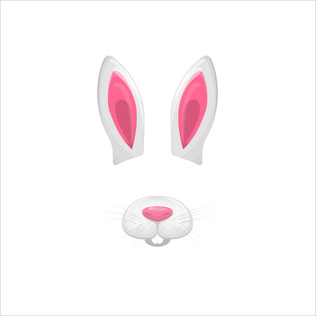 Rabbit face elements. Vector illustration. Animal character ears and nose. Video chart filter effect for selfie photo decoration. Constructor.Cartoon white hare mask. Isolated on white. Easy to edit. Vettoriali
