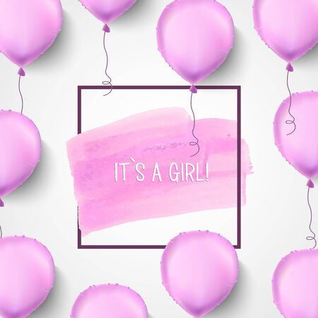 it s a girl: It s a girl. Pink balloons. Vector illustration. Pink helium balloons with frame and brush stroke. Cute Celebration background. Baby birthday.