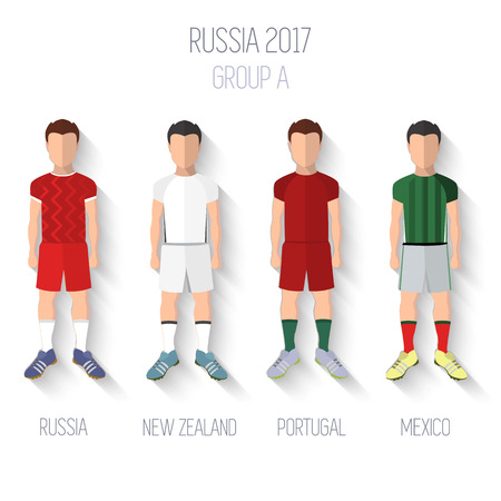 Russia 2017 football championship. Group A: Russia, New Zealand, Portugal, Mexico Vector illustration eps10