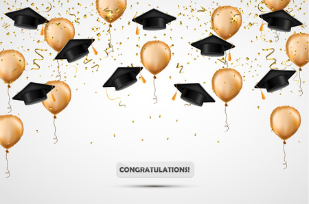 Graduation hat. Confetti and gold balloons. Vector illustration. Celebration background. Student cup. Isolated on white. Vetores