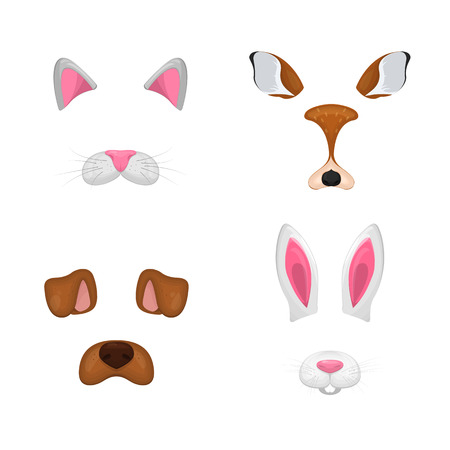Animal face elements set. Vector illustration. For selfie photo decor. Constructor. Cartoon mask of cat,deer,rabbit,dog. Isolated on white.