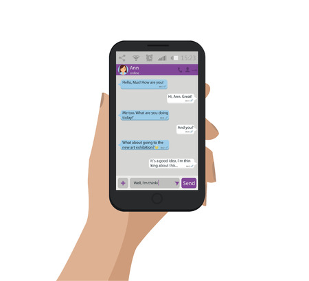 Hand holding mobile phone. Vector illustration. Chat concept. Messenger window. Social network message.