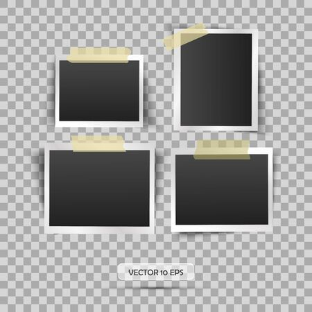 photo album: Blank photo frame. Vector illustration, eps 10. Retro vintage style. Place for your text. Realistic photo icon design template.