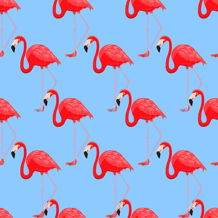 Flamingos seamless pattern. Vector. Red flamingos on light blue background. Illustration