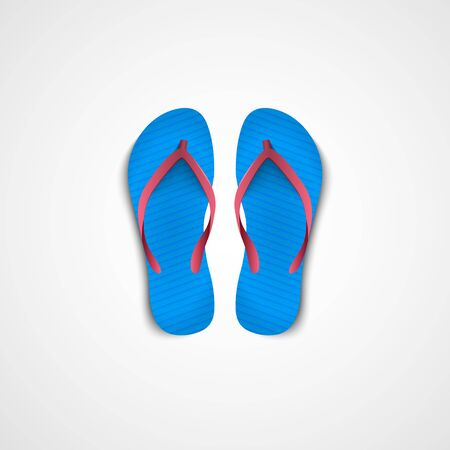 Blue Flip flops pair. Realistic 3d icon. Vector illustration. Isolated on white.