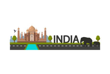 India landscape with Taj Mahal temple, two elephant black silhouettes. Vector illustration.