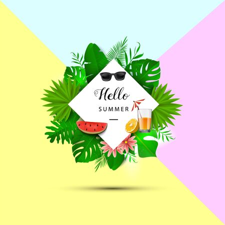 Hello summer. Tropical leaves. Vector illustration. Summer banner with 3d hawaiian leaves, sunglasses, watermelon slice and orange juice on yellow, pink and blue background. Illustration
